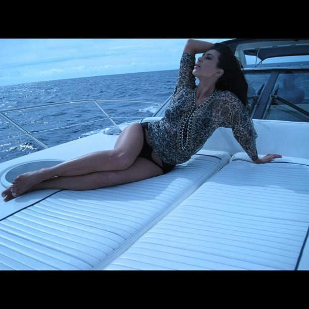 Kim Kardashian lounged on a boat.  Source: Instagram user kimkardashian