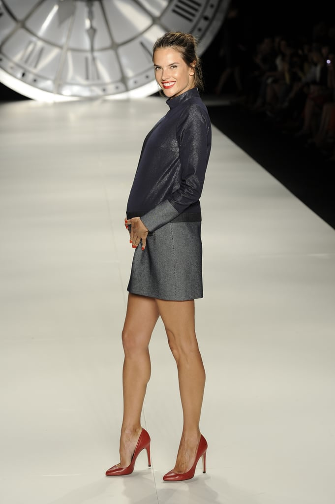 "Alessandra Ambrosio walked during the Colcci show at Sao Paulo Fashion Week yesterday. She's the latest supermodel to strut her stuff for the brand, as Gisele Bundchen was one of the famous faces modeling the house's designs in recent seasons. The supermodel hit the catwalk despite being pregnant with her second child. She and fiancé Jamie Mazur will make their 3-year-old daughter Anja a big sister later this year.  Alessandra Ambrosio wore a bikini and showed off her baby bump during their family vacation on the Brazilian island of Florianopolis last week. She was then off for a quick trip to London for work, then returned to South America for the runway show. She was all about letting loose once the presentation was over, tweeting, ""Ready to party with my girls!"""