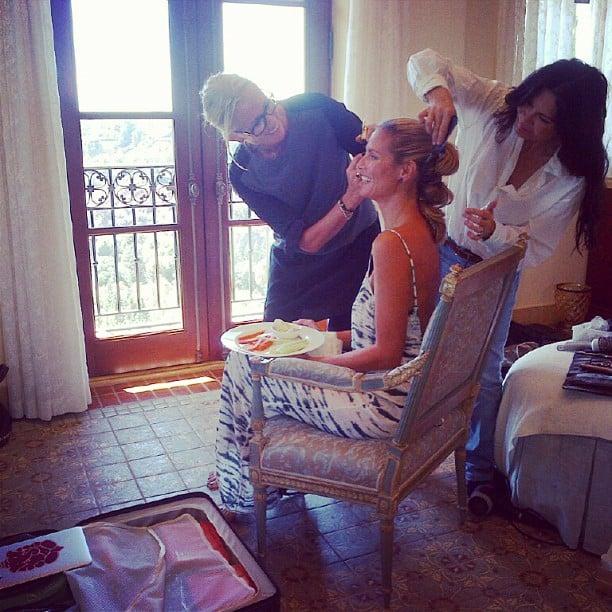 Even midpreparations, Heidi Klum looked stunning. Source: Instagram user heidiklum