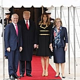 On Feb. 23, the Trumps welcomed Australian Prime Minister Malcolm Turnbull and Lucy Turnbull to the White House. For the occasion, Melania wore gold snakeskin pumps that matched the designs on her Dolce & Gabbana coat dress.