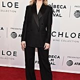 Lily was suited and booted in Burberry at the Tribeca Film Festival.