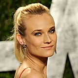Diane Kruger's jeweled earrings add subtle sparkle to her Calvin Klein gown.