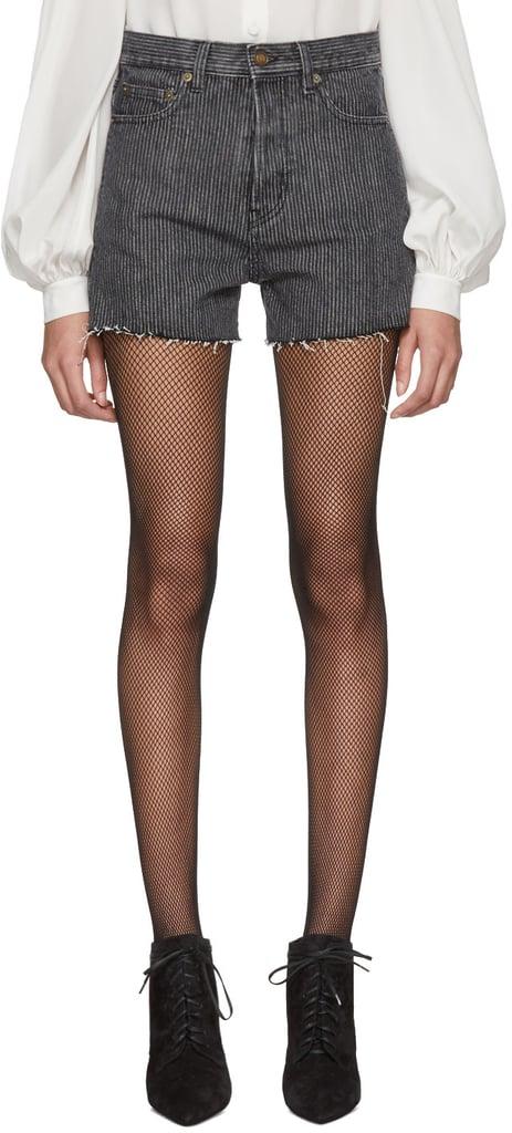 Saint Laurent Grey Striped Denim Shorts