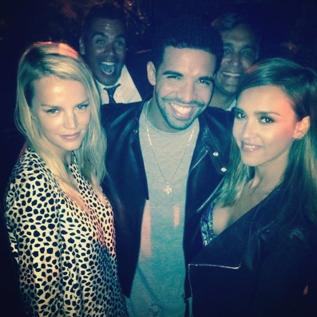 Jessica Alba's picture with Drake and Kelly Sawyer was photobombed by her husband, Cash Warren, and her dad, Mark. Source: Instagram user jessicaalba