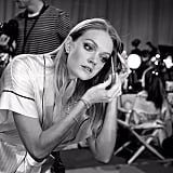 Lindsay Ellingson gave herself a touch-up backstage. Source: Instagram user victoriasecretangels101