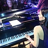 Olivia Munn played the piano while Jamie Foxx sang during a Super Bowl preparty in NOLA. Source: Twitter user oliviamunn