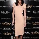 Hilary Rhoda was crisp and classic in her below-the-knee shift.