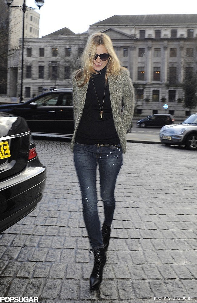 Kate Moss walked through London on Valentine's Day.