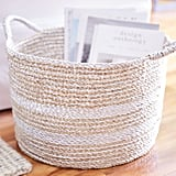 Laguna Natural and Silver Round Wicker Basket