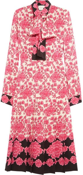 Gucci Pussy-Bow Pleated Printed Silk Crepe De Chine Dress ($3,950)