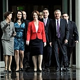 Julia Gillard arrived with her supporter to the caucus meeting in Canberra in Feb. 2012. She secured the leadership, winning 73 votes to Kevin Rudd's 29, in the leadership ballot.