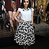Vanessa Hudgens showed off her ladylike side in a printed circle skirt and matching blouse at Alice + Olivia.