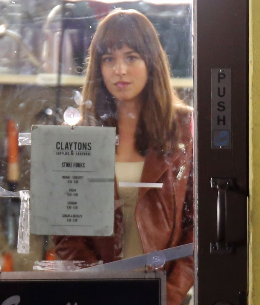 Johnson filmed at the fictional Clayton's Hardware, where Anastasia Steele works in college.