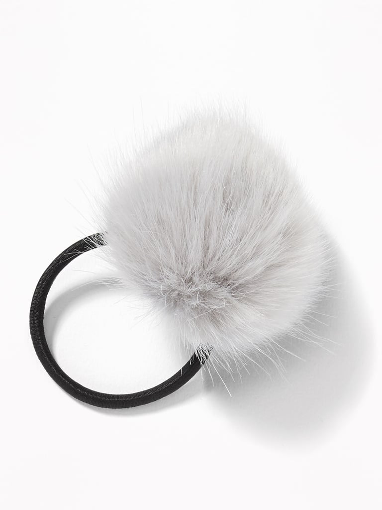 Faux-Fur Pom-Pom Elastic Hair Tie For Women
