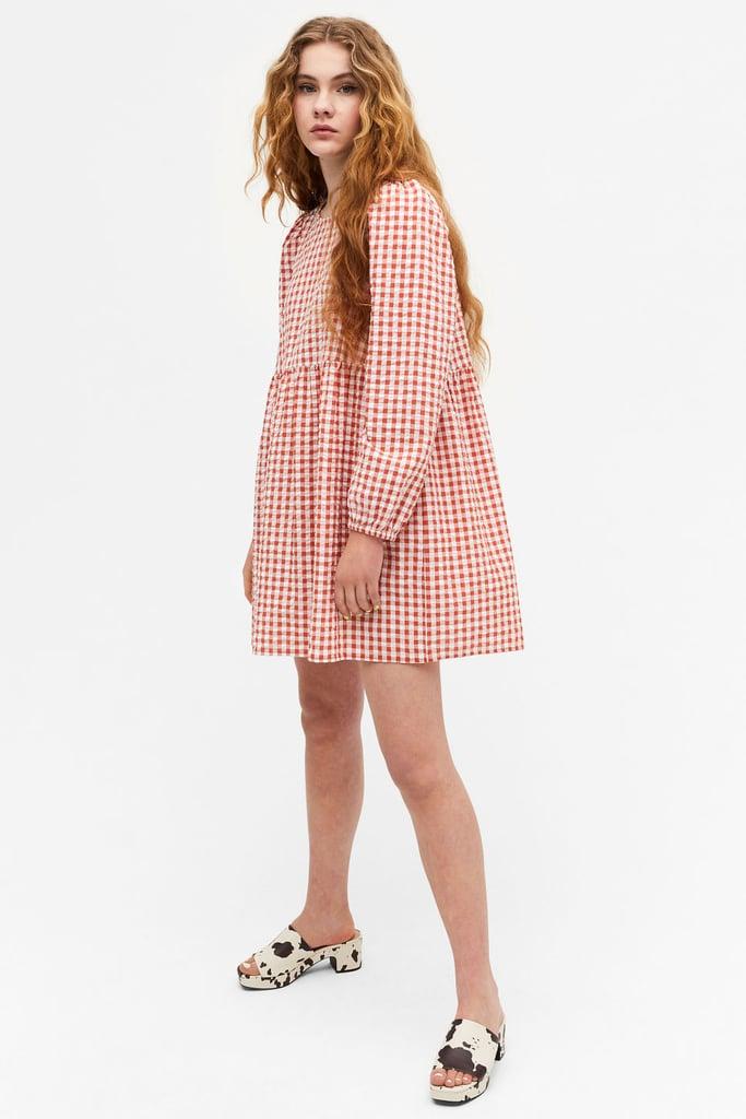 Shop Gingham Dresses: Monki Mini Smock Dress