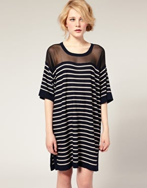 Sonia by Sonia Rykiel Striped Wool Dress with Sheer Panel ($458)