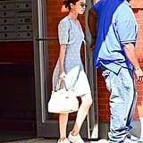 Selena Wore Her Ivory Coach Bag With the Dress in September 2017