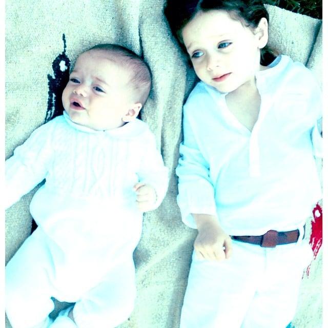 The Berman boys were decked in white for their impromptu photo shoot.  Source: Instagram user rachelzoe
