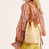 Free People Rori Leather Straw Bucket Bag