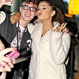 Ariana Grande posed with fans on Tuesday in London.