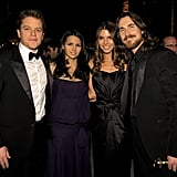 The couple chatted with Matt Damon and his wife, Luciana, at The Weinstein Company's Golden Globes afterparty in 2011.