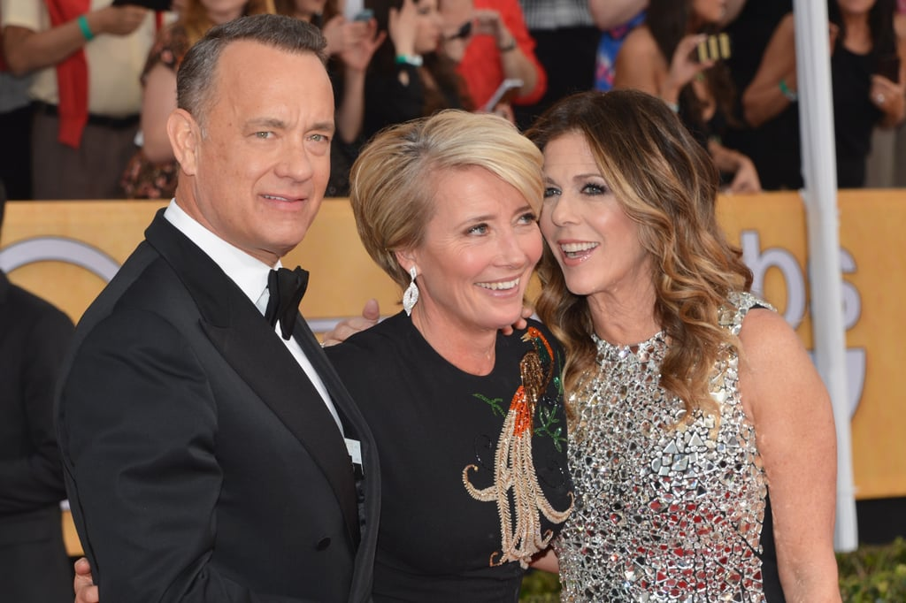 Emma Thompson hopped into the middle of a Tom Hanks and Rita Wilson sandwich.