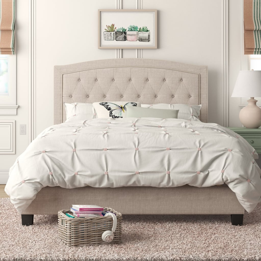 Milo Solid Wood Tufted Upholstered Low Profile Standard Bed