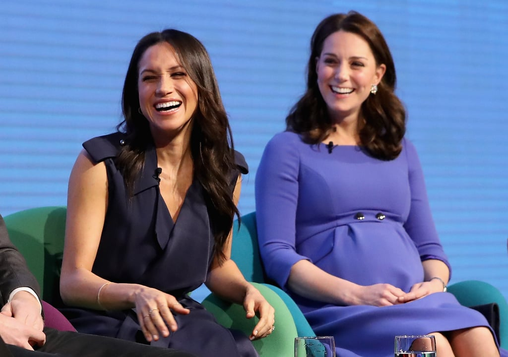 "Kate Middleton and Meghan Markle already look like the best sisters-in-law anyone could ever have, and the royal wedding hasn't even happened yet! Kate and Meghan joined their partners, Prince William and Price Harry, at the Royal Foundation Forum on Wednesday, which focused on ""Making a Difference Together"" through the many charitable programs run by The Royal Foundation.  As they chatted on stage, we couldn't help but notice how adorable Kate and Meghan are together. Ever since their first appearance at Christmas, captured by a member of the public in a very memorable photo, we've been waiting to see more of them together. On Wednesday, they definitely looked like royal besties!  Not only are they attentively listening to each other and giggling away among themselves, but they're also twinning in blue outfits. This isn't the first time they've taken tips from each other, either. Meghan definitely took a cue from Kate's bouncy blowouts, and they've both shared fashion tips and even worn the same brands. Clearly, these ladies are two peas in a pod. Ahead, see more of Kate and Meghan's adorable moments together from the event.      Related:                                                                                                           Will Kate Middleton Be Meghan Markle's Bridesmaid? Here's What We Know"