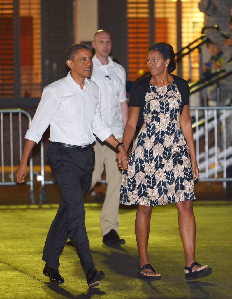 Michelle wearing a chevron print dress with platforms in Honolulu.