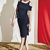 W Concept D Ring Knit Top Skirt Set Navy