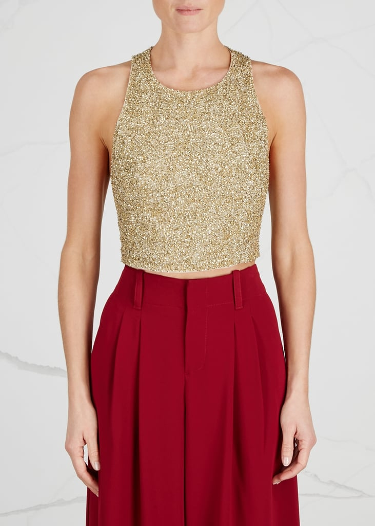 Alice + Olivia Tru Gold Cropped Sequinned Top