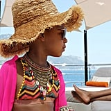 Blue Paired Her Zigzagged Bikini With a Statement Necklace and Straw Hat
