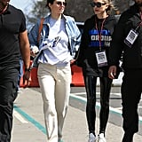 Kendall and pal Hailey Baldwin went casual for LA's March For Our Lives. Kendall started with a foundation of Adidas Forum sneakers with red stripes and khaki-coloured denim. She wore a Yeezy crew neck sweatshirt, a metallic Heron Preston bag, and R13's denim jacket.