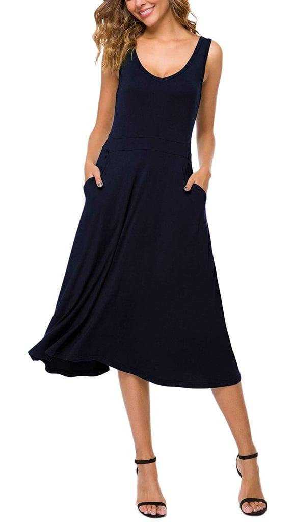 Urban CoCo Sleeveless Solid Flared Midi Dress