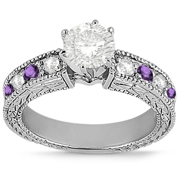 Antique Diamond and Amethyst Engagement Ring 14k White Gold
