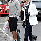 Karl Lagerfeld Snapped in Saint Tropez Without Sunglasses