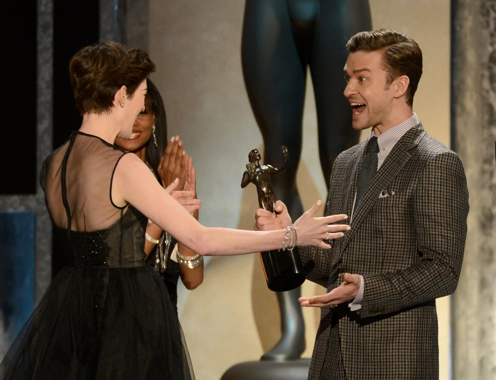 Anne Hathaway and Justin Timberlake shared a moment of excitement on stage.