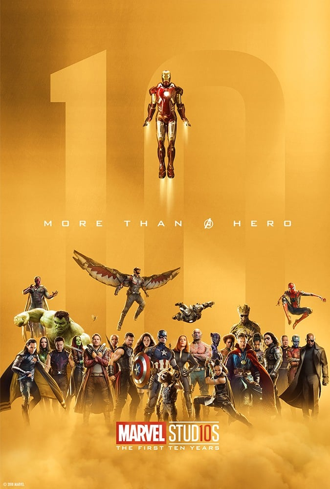 marvel studios celebrating 10th anniversary posters popsugar