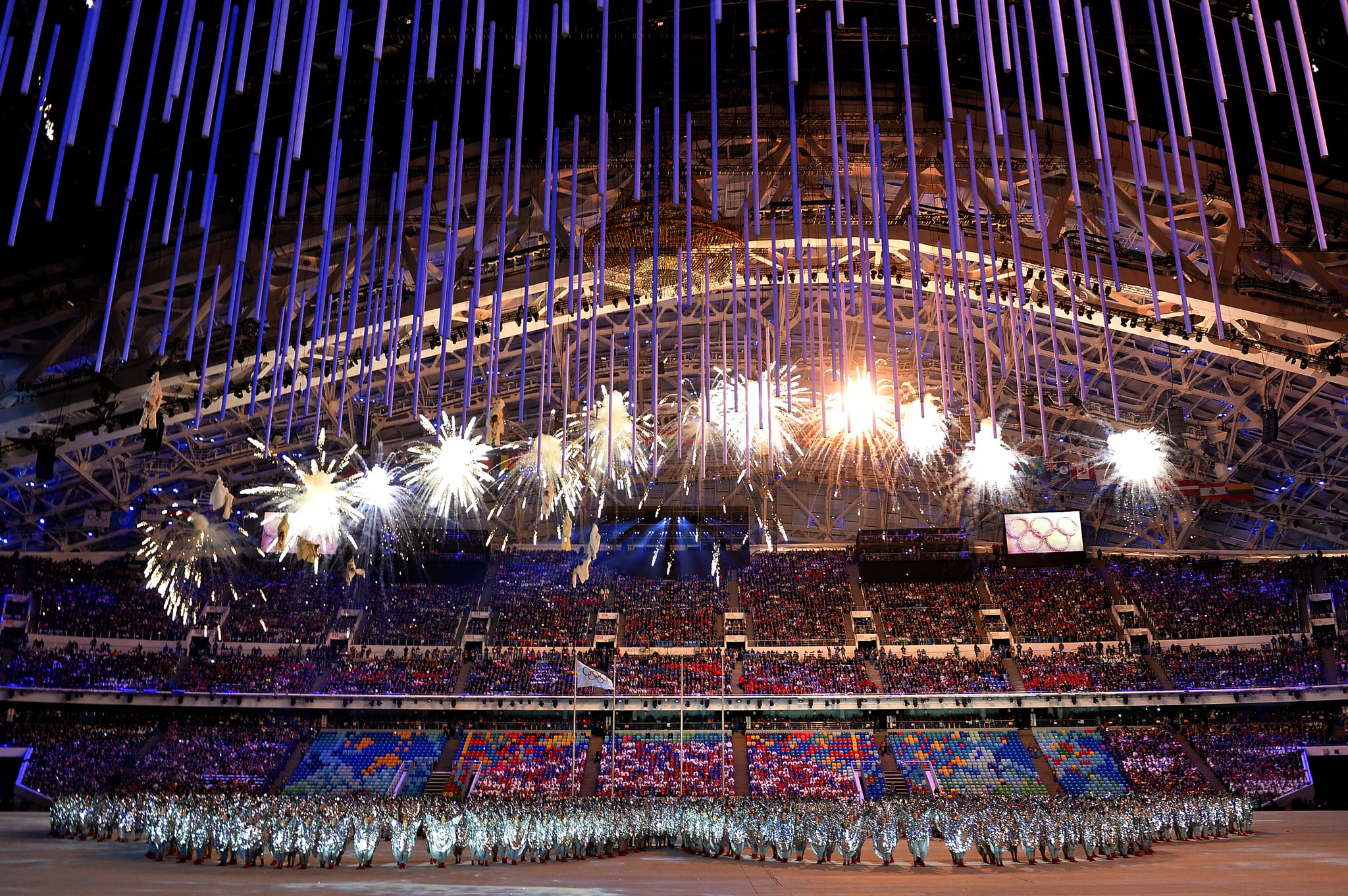 Fireworks sparked during the closing ceremony.