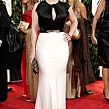 Kate Winslet in a belted dress at the 2012 Golden Globe Awards.