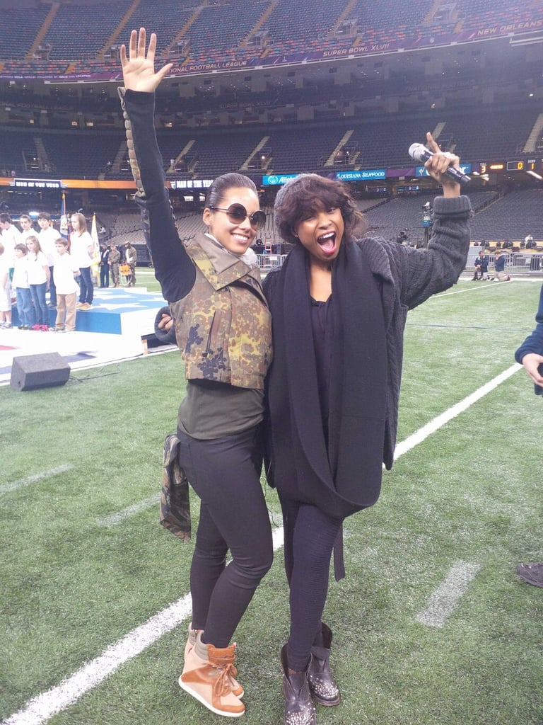 Alicia Keys and Jennifer Hudson prepped for the Super Bowl. Source: Twitter user aliciakeys