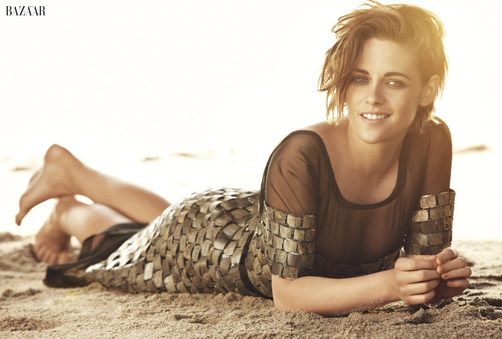 """Kristen Stewart graces the cover of Harper's Bazaar UK's June issue, and in her interview with the magazine, she gets candid about fame, sexism in Hollywood, and her sex scene with Robert Pattinson. The actress has spent more than a decade in the spotlight, and she says that fame is """"the worst thing in the world,"""" adding, """"Especially when it's pointless."""" The full interview appears in the June issue of Harper's Bazaar, on sale April 30, but keep reading for some of Kristen's must-see quotes and photos. For further exclusive content, please go to www.harpersbazaar.co.uk.  On sexism: """"Women inevitably have to work a little bit harder to be heard. Hollywood is disgustingly sexist. It's crazy. It's so offensive it's crazy."""" On sex scenes: """"I only hate them when they're contrived. That's when it's grotesquely uncomfortable. On Twilight we had to do the most epic sex scene of all time. It had to be transcendent and otherworldly, inhuman, better sex than you can possibly ever imagine, and we were like, 'How do we live up to that?' It was agony. Which sucks, because I wanted it to be so good."""" On other actresses' sex scenes: """"I just even question when a fairly established actress does a scene in a movie when she shows her boobs and she hasn't done it up until this moment, and maybe she only did it for the prestigious part and it's okay for this time because it's classy, and I'm like, 'Oh God, thank you for revealing to the world your treasure.'"""" On weight and health: """"I'm a little bigger than sample size when I'm eating cheeseburgers and am happy and comfortable. If I'm stressed or working, the weight falls off. My weight and my sleep are tied to my nervous system. Sometimes I'll sleep for 12 hours a night and sometimes sleep just doesn't exist for me for a couple of months."""""""