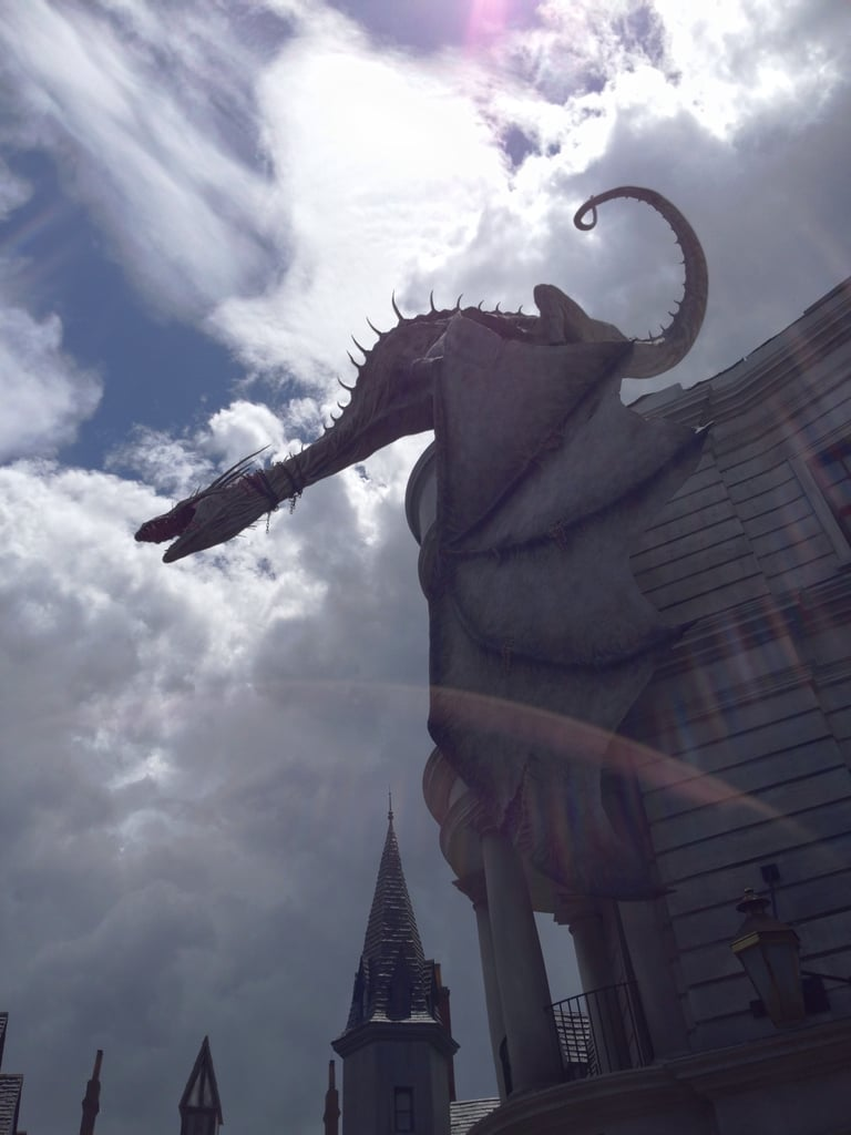 The dragon on top of Gringotts Bank is incredible. You'd think it's about to fly away.