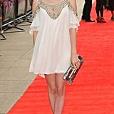 Emma Roberts was incredibly ethereal in her Temperley London dress and Rene Caovilla multicolored sequin clutch at the premiere of 4,3,2,1.