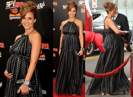 Pictures of Jessica Alba in Star Print Dolce & Gabbana Gown at the LA Premiere of Spy Kids: All The Time In The World 4D