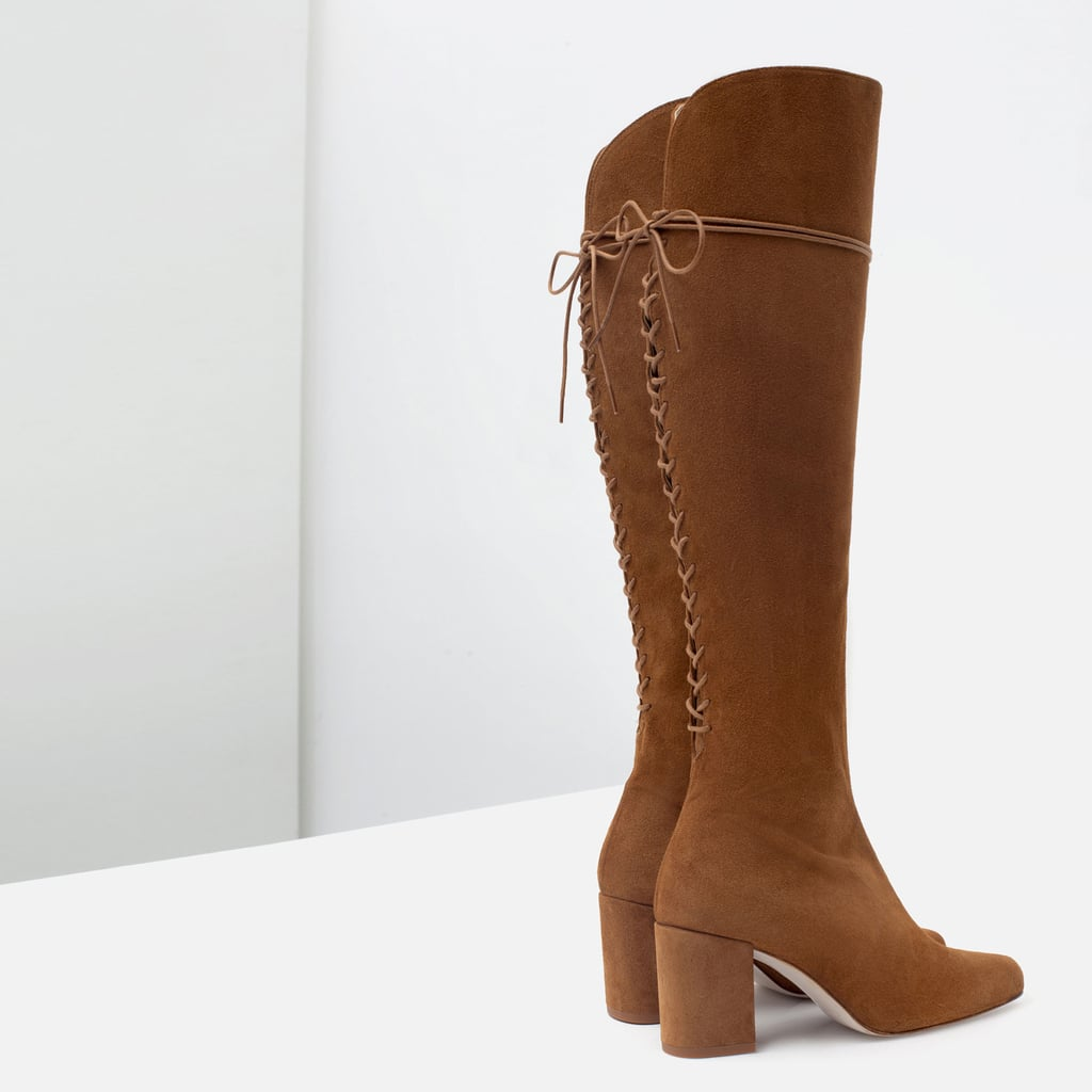 These knee-high Zara leather boots ($159) are the type you see and instantly fall in love with. I know I'm going to wear them with everything — even when the hemline of my breezy maxi dress only allows for a slight view of the lace-up detail at the back.