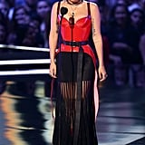 Wearing an edgy Alexander McQueen look at the MTV Movie & TV Awards.