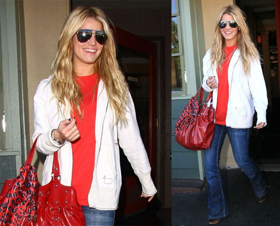 Jessica Simpson Caught Red Accessorized