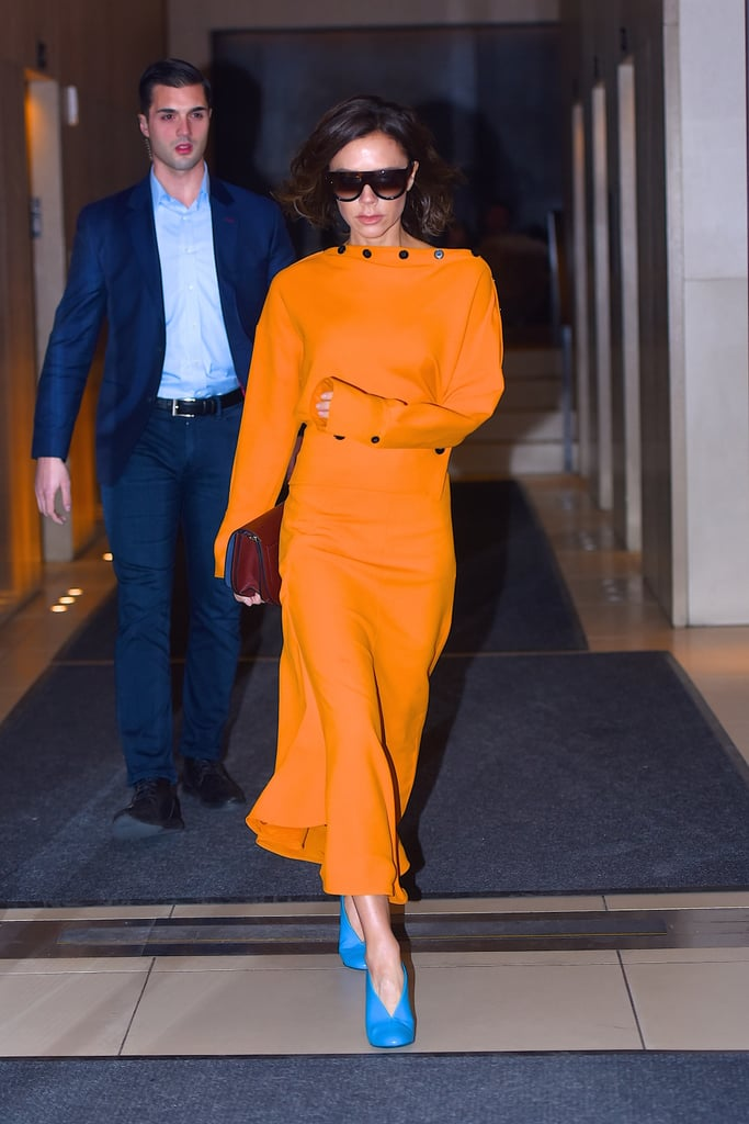 Pairing a Bright Orange Dress With Blue