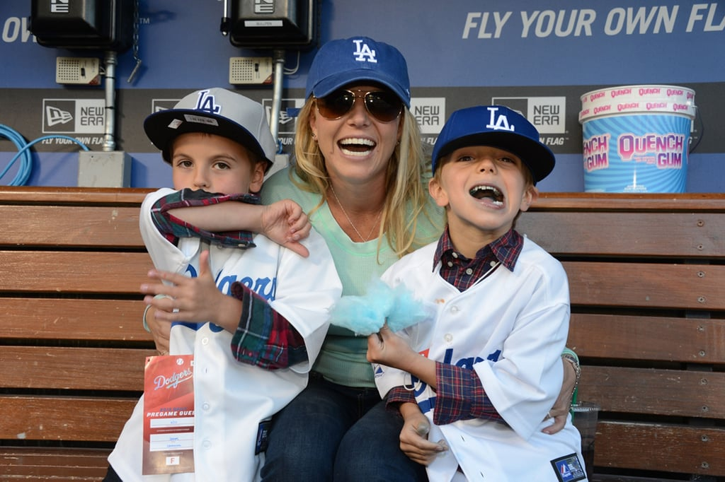 Britney Spears and her sons, Jayden James and Sean Preston, ate cotton candy in the Dodgers dugout.